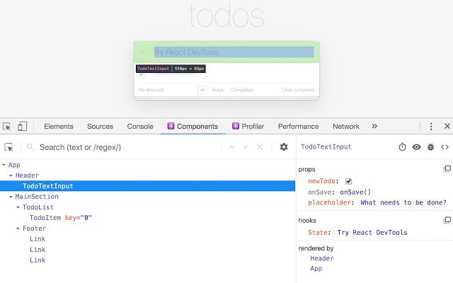 reactdev tools screenshot