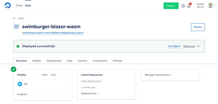 DigitalOcean App Home page