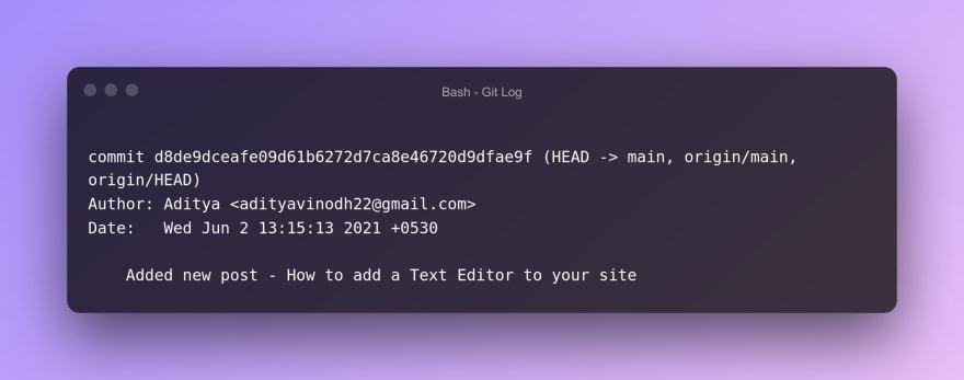 Git log for commit done from local respository