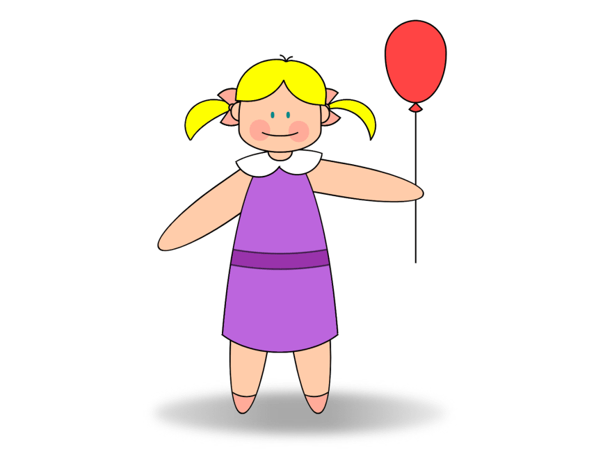Girl with ponytails, wearing a dress, and holding a balloon
