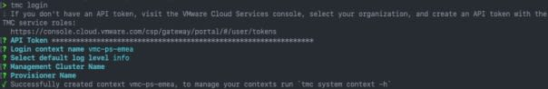 Access your cluster - tmc login
