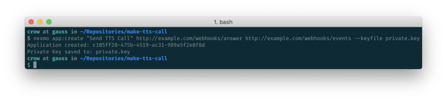 A screenshot of the output from the Nexmo CLI showing the new Application ID.