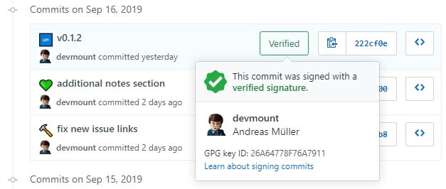 Green badge indicating that this commit was signed with a verified signature