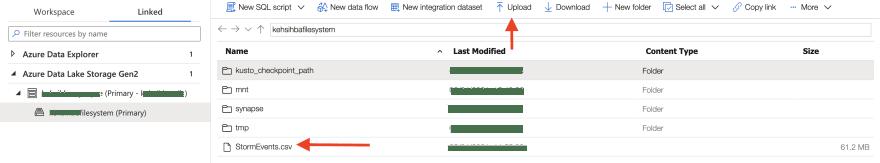Upload file to Azure Data Lake Storage (Image by author)
