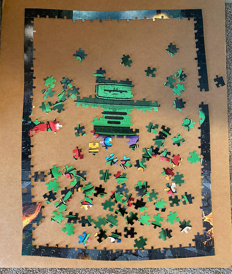 Puzzle green pieces