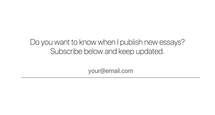 Subscribe to learn when I publish new essays on https://sergiodxa.com/subscribe/