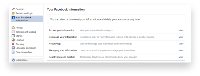 Your Facebook information tab
