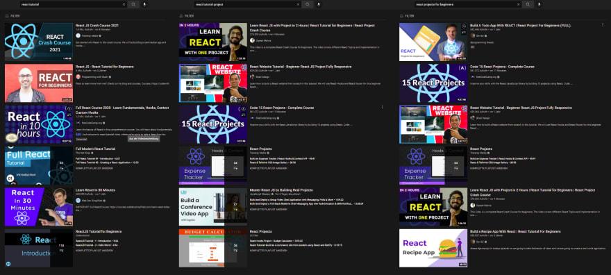 screenshot of youtube tutorials