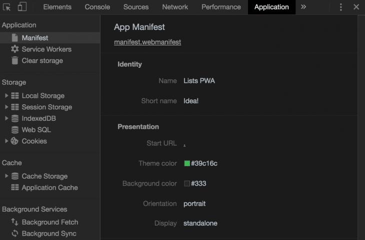 App Manifest Page In Chrome DevTools