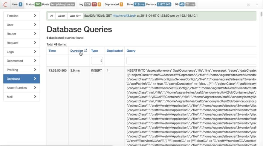Debug Toolbar Database Queries