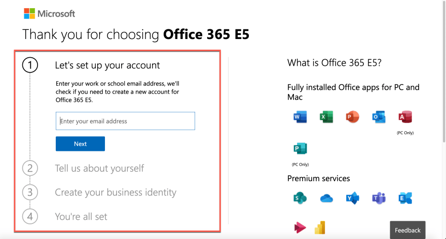 Microsoft 365 E5 Trial Sign-up Page