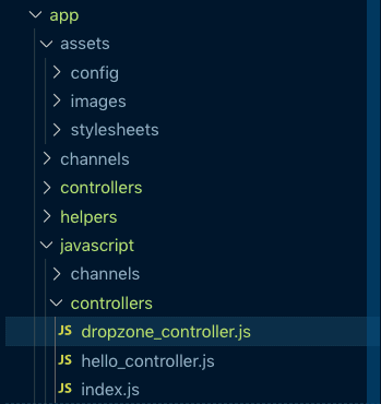 dropzone_controller file in file tree