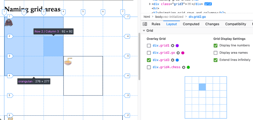 Firefox's Grid inspector showing the dimensions of a grid item