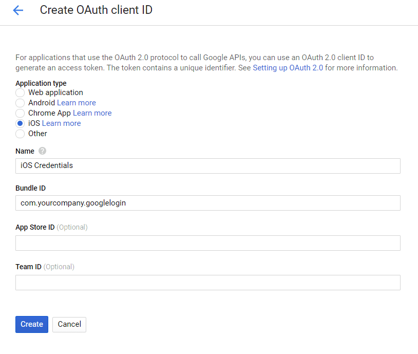 Create OAuth client ID for iOS
