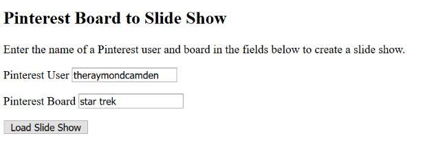 Screenshot of demo showing input fields