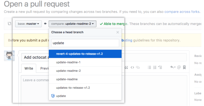 Image of Pull Request example from GitHub