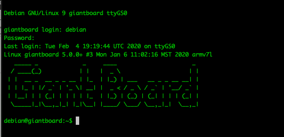 Command line with login to the Giant Board
