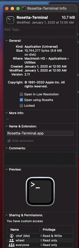 Rosetta-Terminal Get Info
