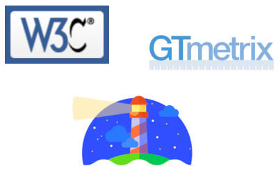 Logos of W3C, GTMetrix, and Lighthouse validators