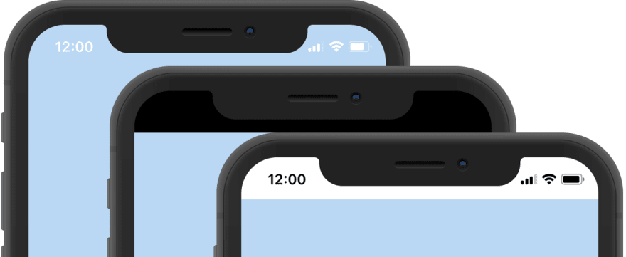 Status bars with settings black-translucent, black, and default
