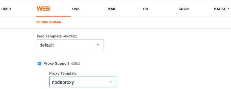 domain settings panel