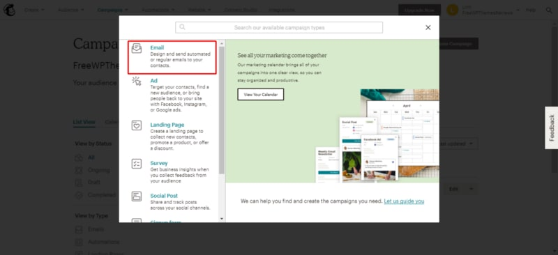 Click Email to create campaigns for sending blog posts by email.