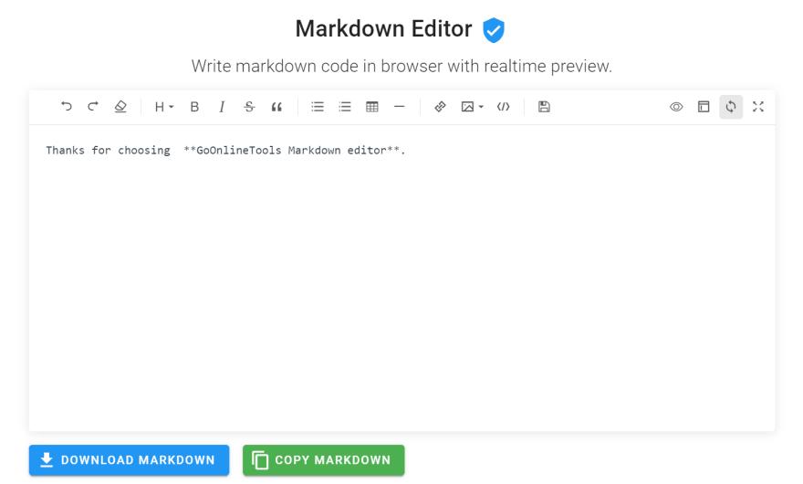 GoOnlineTools Markdown Editor