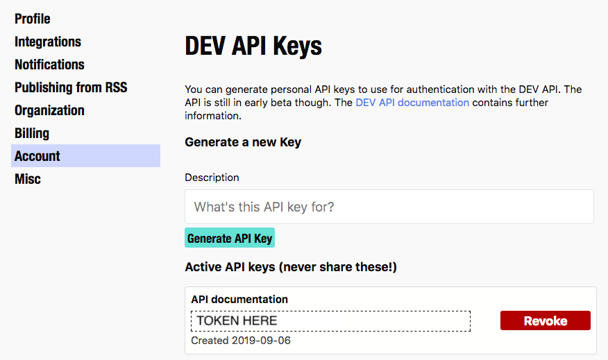 Generated DEV.TO API Key