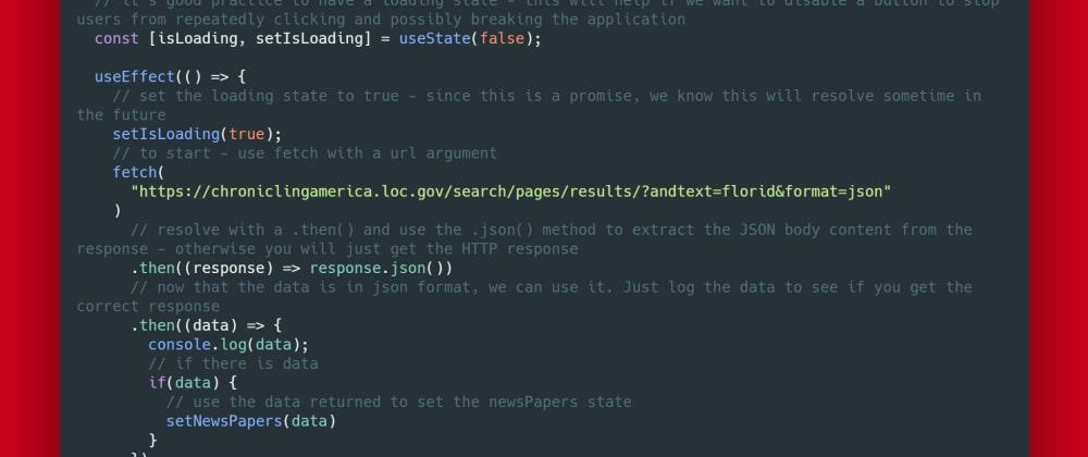 Cover image for API requests with React (using the fetch API)