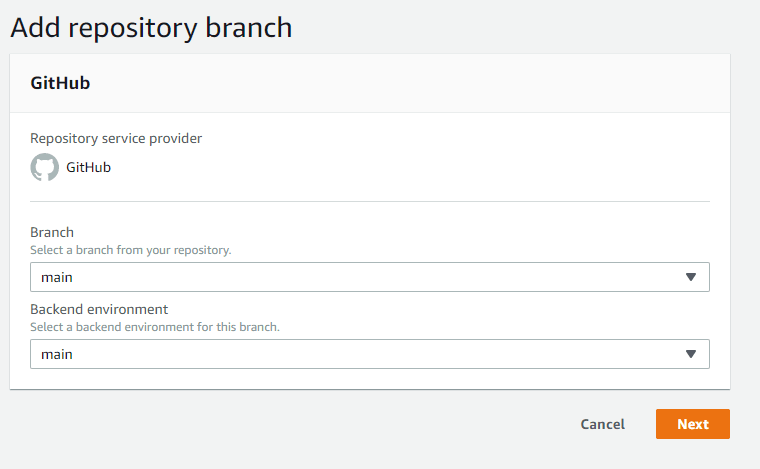 Amplify Console connection branch to env