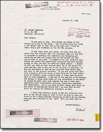 Oppenheimer's letter
