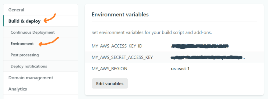 netlify environment variables