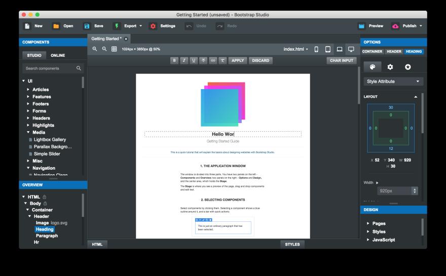 Screenshot of Bootstrap Studio 4