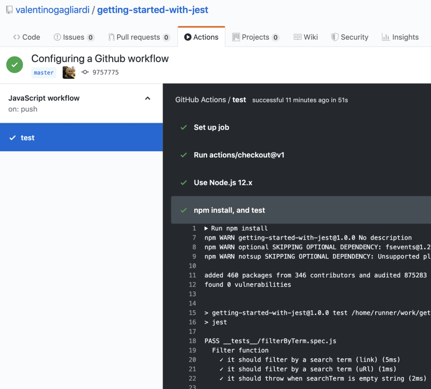 Github workflow test passing