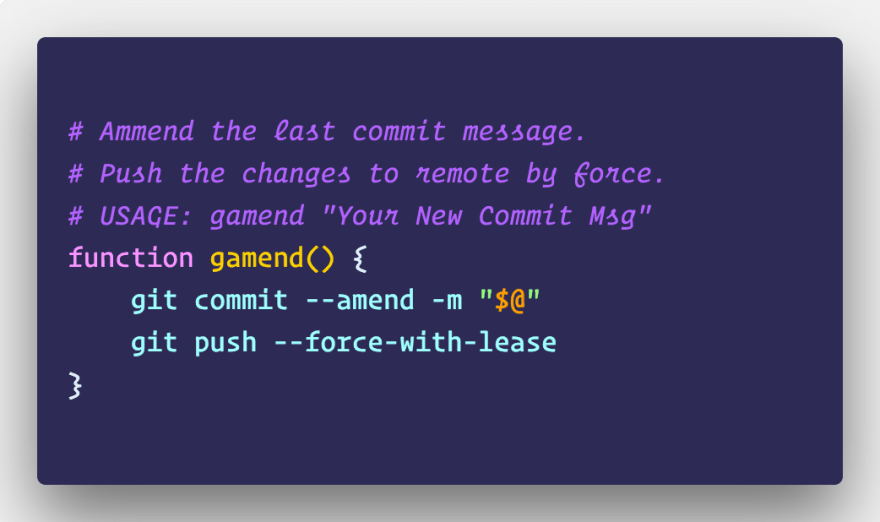 One Command To Change The Last Git Commit Message Dev Community