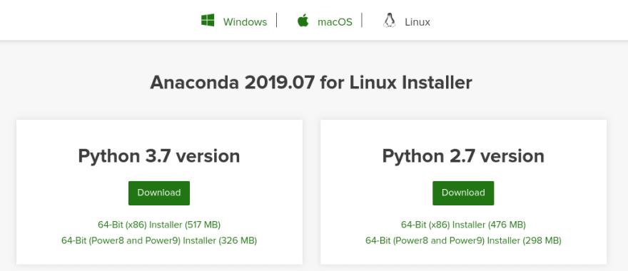 Anaconda Installer download page