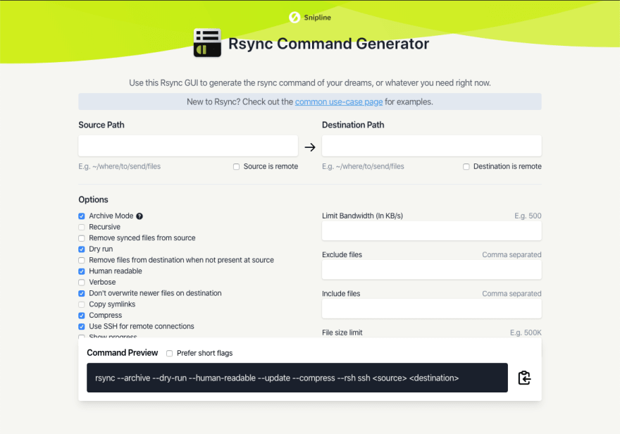 Preview of the Rsync Command Generator