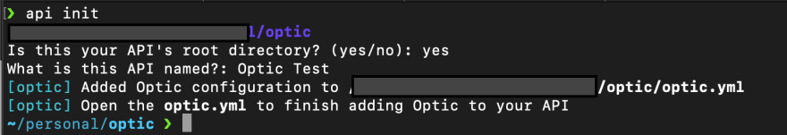Output on running api init