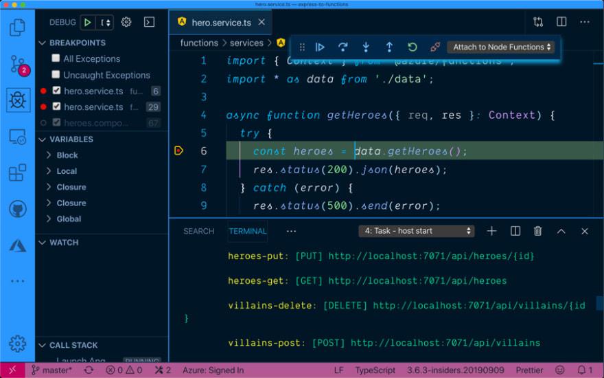 Debugging Azure Functions
