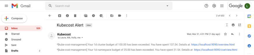 Kubecost Email Notification