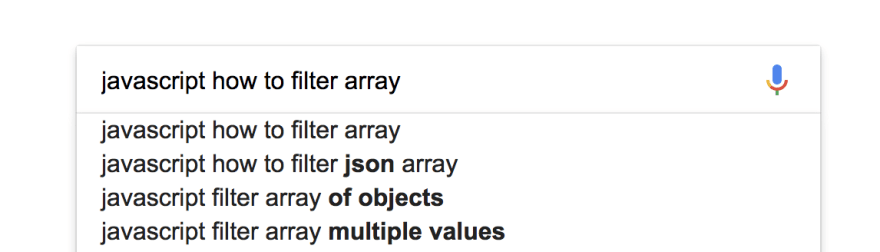 "Screenshot of a Google query saying ""JavaScript how to filter array"""