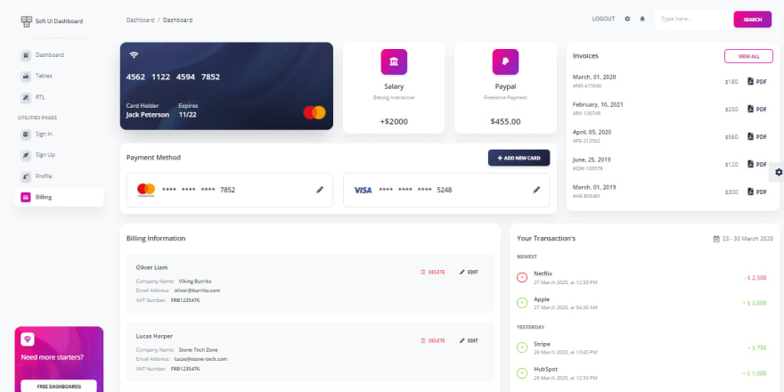 Soft UI Dashboard - Billing Page.