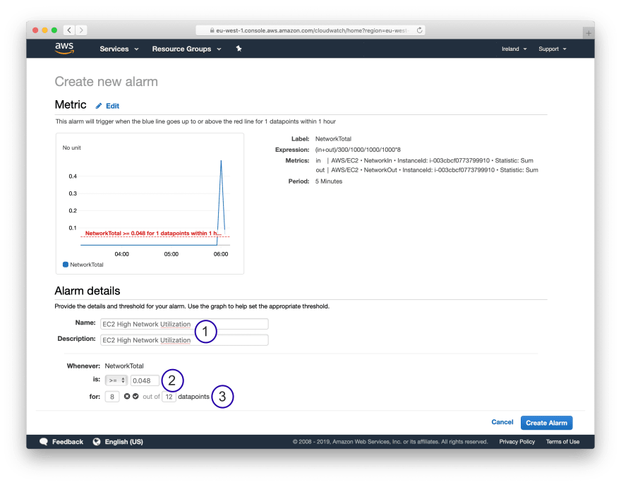 Step 3: Creating CloudWatch Alarm monitoring Network Utilization