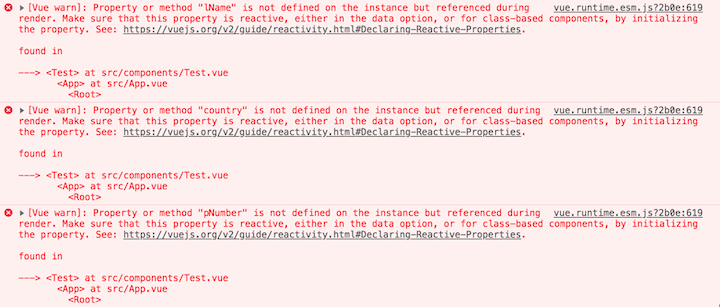 Error Prompts Associated With the v-model Directive