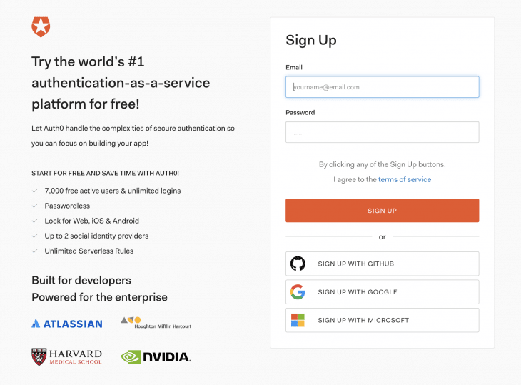 create a free Auth0 account page