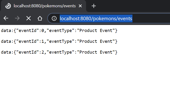 resposta do browser na consulta de pokemons