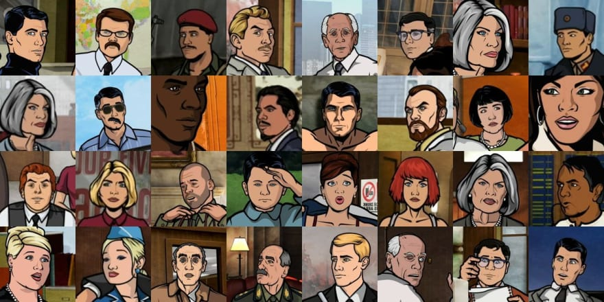 A series of cartoon faces extracted from the show Archer