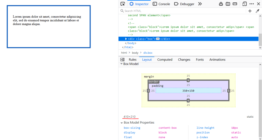 Box model calculation show in Firefox developer tools