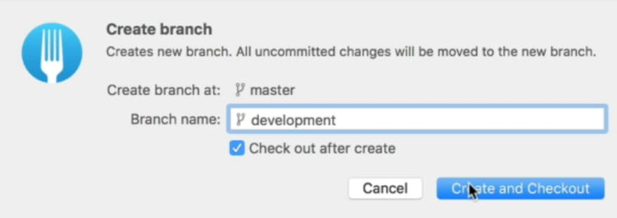 Setting the branch name to development