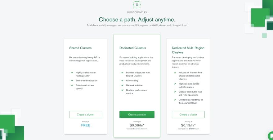 Select plan at MongoDB Atlas